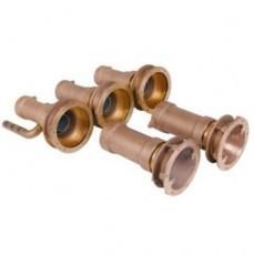 Закладные детали системы г/м  ;Combi-Whirl ; стеновой, 2 всасыв. и 3 подающ. форс., 240 мм, бронза
