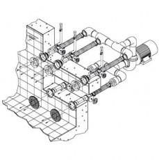 Основной компл.системы г/м Combi-Whirl стеновой, 2 всасыв.3 подающ.форс.насос-4 кВт,4