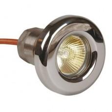Прож. галог. 50 Вт, 12В AC, круг 85 мм, накл. с контрагайкой 1 1/2 , NiSn, 2 м 2x1,5 мм2, BZ