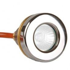 Прож. галог.  MINI 20 Вт, 12В AC, круг 57 мм, накл. с контрагайкой 1 , NiSn, 2 м 2x1,5 мм2, BZ