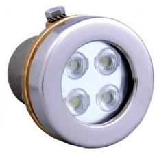 Прож. Power LED, 4x3Вт, 24В DC, 50, круг 72мм, накл. с контраг., V4A, 6000К, 5 м 2x0,75мм2, BZ