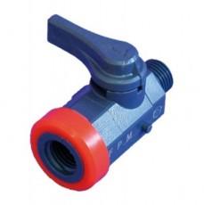 Шаровый кран R 1/4 A/l для отбора/возврата изм. воды, из ПВХ, с EPDM прокладкой