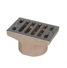 Всасывающая форсунка переливного желоба, 100 х 60 мм, 2  вн.р., бронза/накладка-NiSn (для соленой во